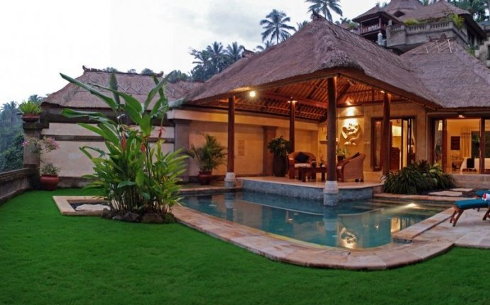 Bali Style House Design Front Yard Elegant Pool Gray Curtain White